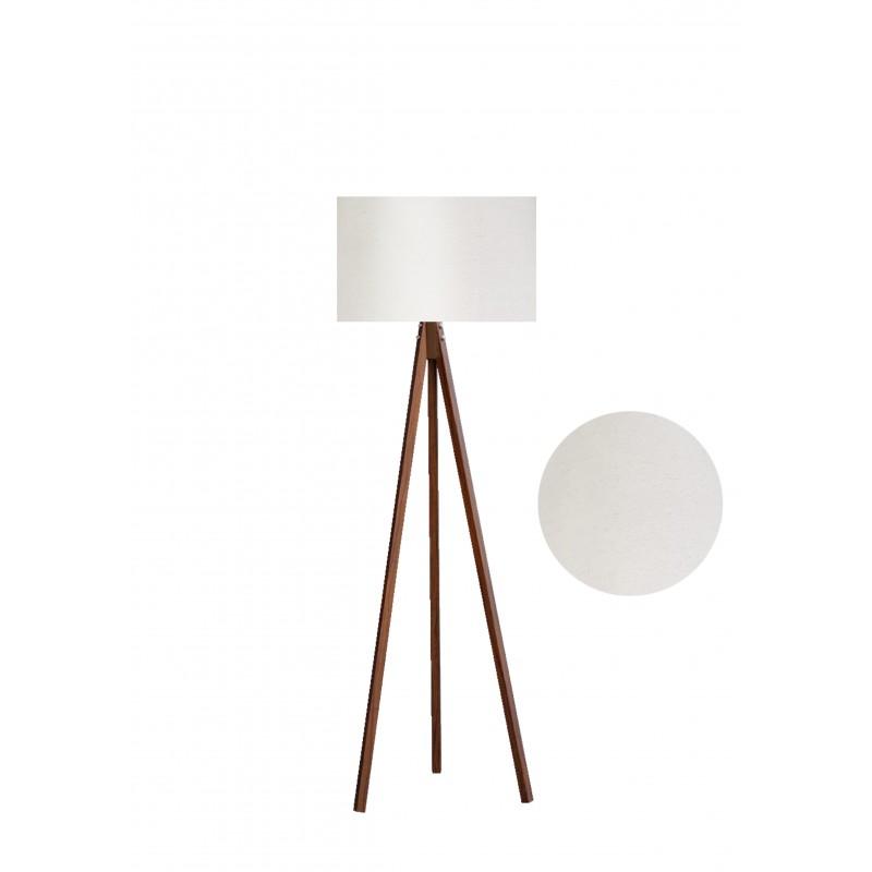 """Φωτιστικό δαπέδου """"EPOKA"""" καφέ ξύλινα πόδια-μπεζ καπέλο 40x40x145"""
