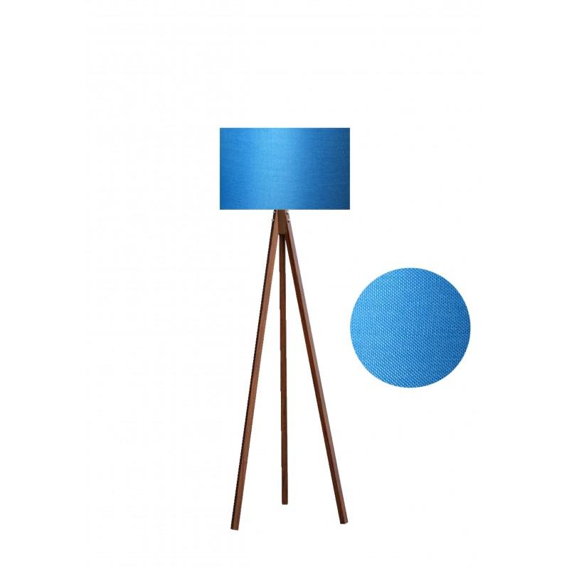 """Φωτιστικό δαπέδου """"EPOKA"""" καφέ ξύλινα πόδια-γαλάζιο καπέλο 40x40x145εκ"""