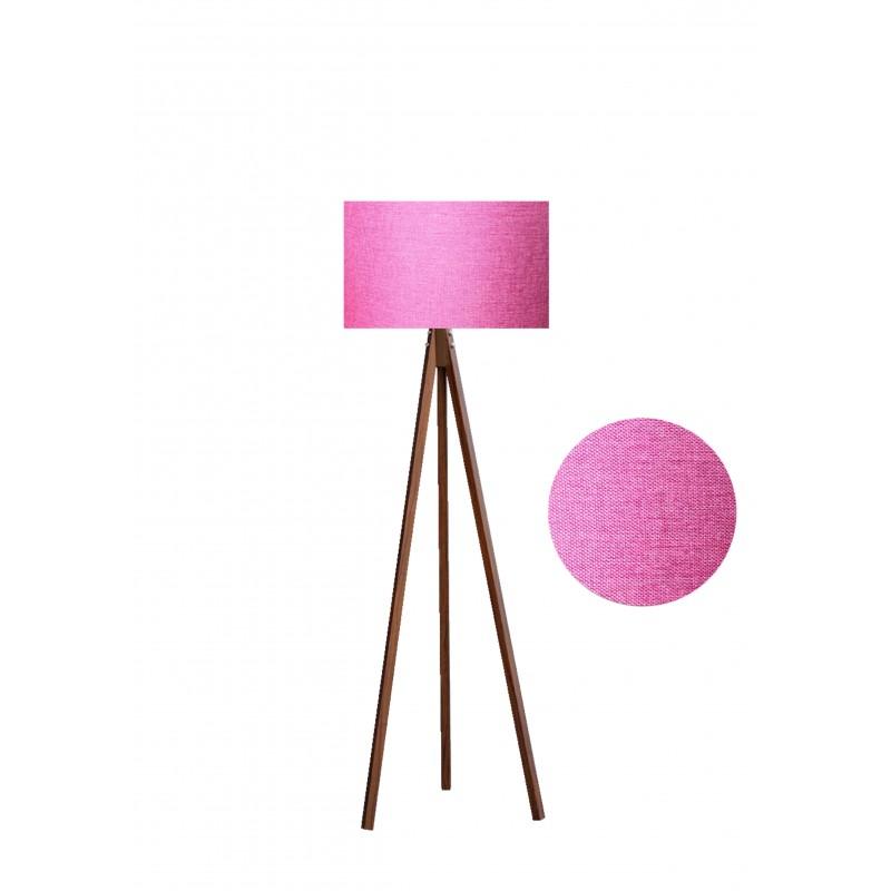 """Φωτιστικό δαπέδου """"EPOKA"""" καφέ ξύλινα πόδια-ροζ καπέλο 40x40x145"""