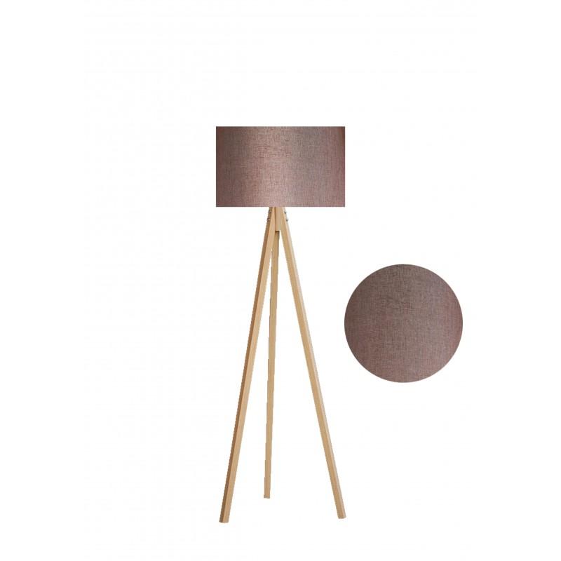 """Φωτιστικό δαπέδου """"EPOKA"""" φυσικά ξύλινα πόδια-καφέ καπέλο 40x40x145"""