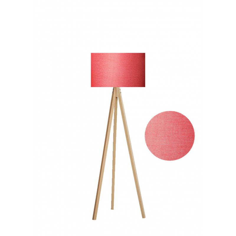 """Φωτιστικό δαπέδου """"EPOKA"""" φυσικά ξύλινα πόδια-κόκκινο καπέλο 40x40x145"""