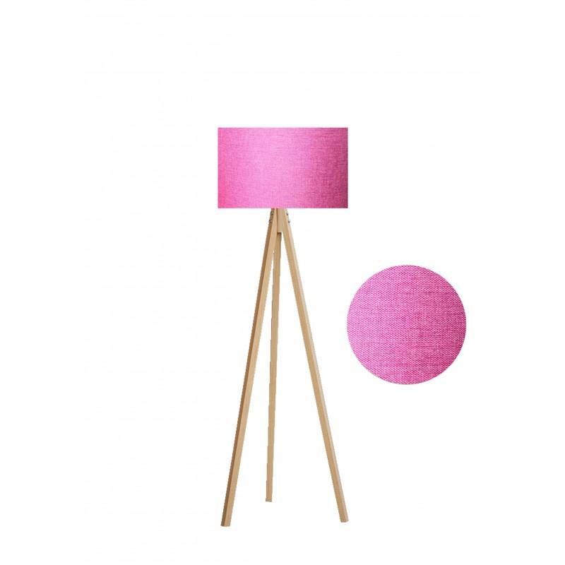 """Φωτιστικό δαπέδου """"EPOKA"""" φυσικά ξύλινα πόδια-ροζ καπέλο 40x40x145"""