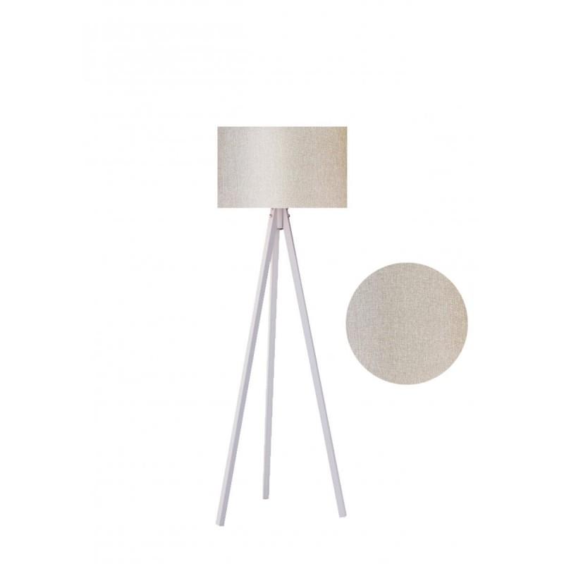 """Φωτιστικό δαπέδου """"EPOKA"""" λευκά ξύλινα πόδια-μπεζ καπέλο 40x40x145"""