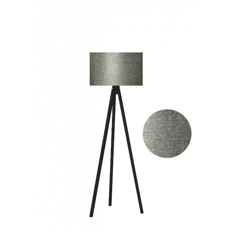 """Φωτιστικό δαπέδου """"EPOKA"""" μαύρα ξύλινα πόδια-γκρι καπέλο 40x40x145"""