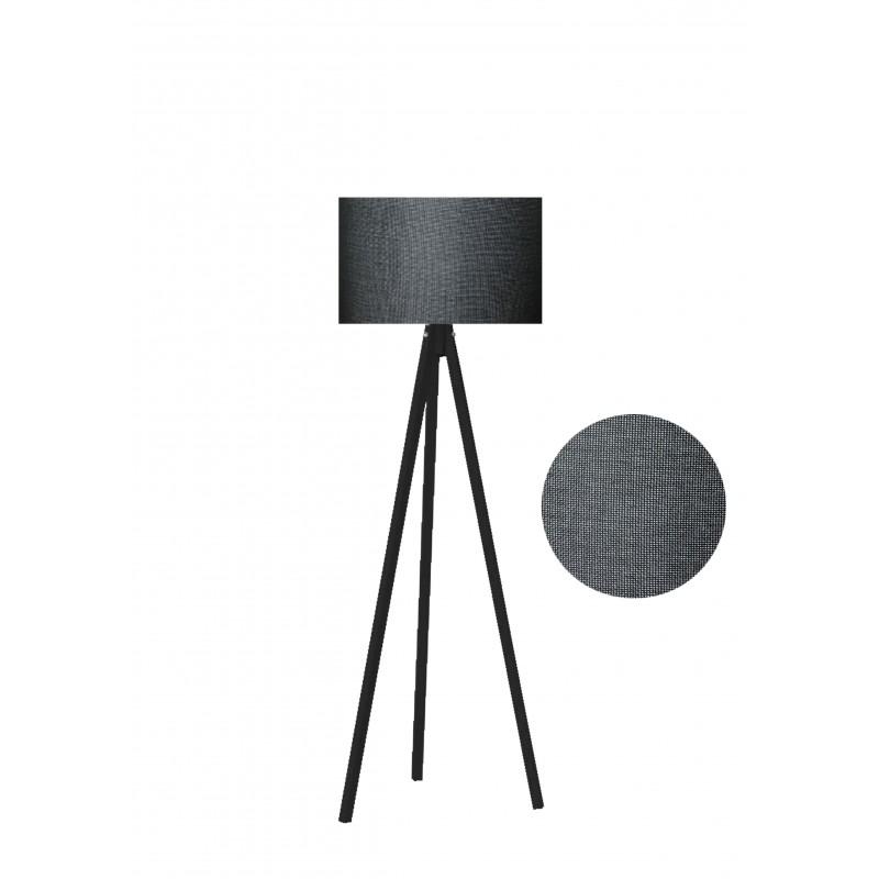 """Φωτιστικό δαπέδου """"EPOKA"""" μαύρα ξύλινα πόδια-γκρι σκούρο καπέλο 40x40x145"""