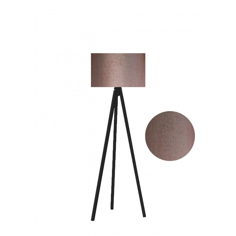 """Φωτιστικό δαπέδου """"EPOKA"""" μαύρα ξύλινα πόδια-καφέ καπέλο 40x40x145"""