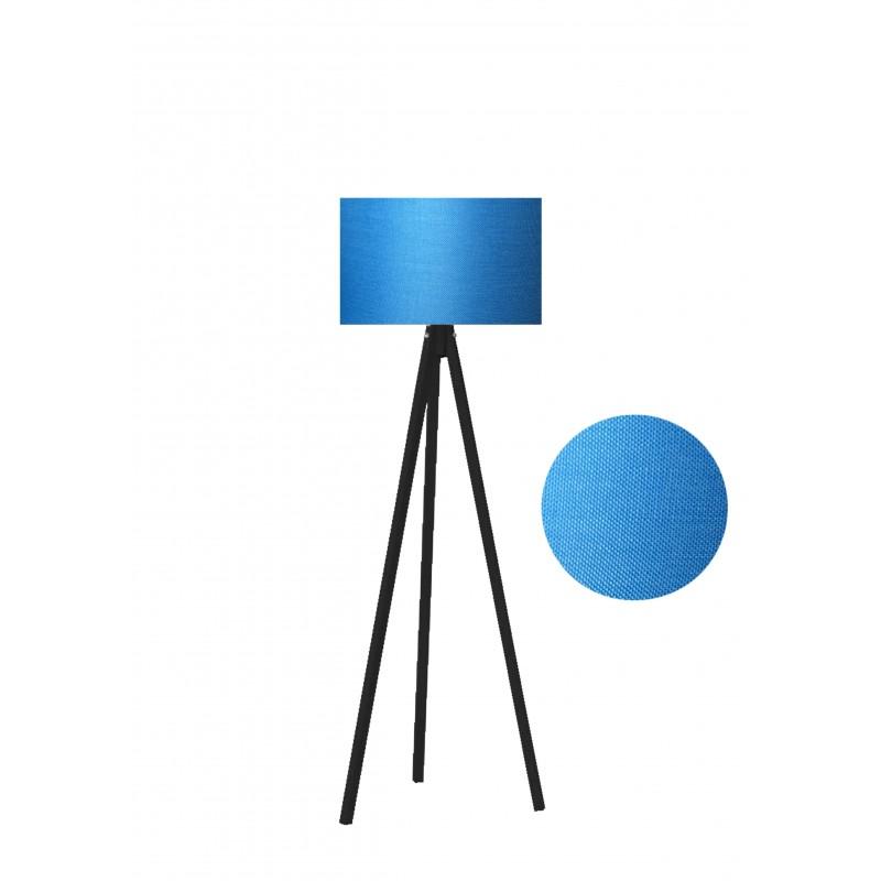 """Φωτιστικό δαπέδου """"EPOKA"""" μαύρα ξύλινα πόδια-γαλάζιο καπέλο 40x40x145"""