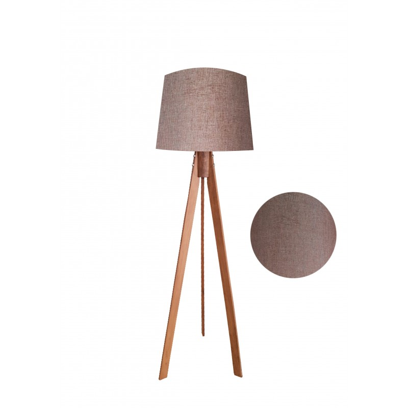 """Φωτιστικό δαπέδου """"VERDE"""" καφέ ξύλινα πόδια-καφε καπέλο 45x45x145"""