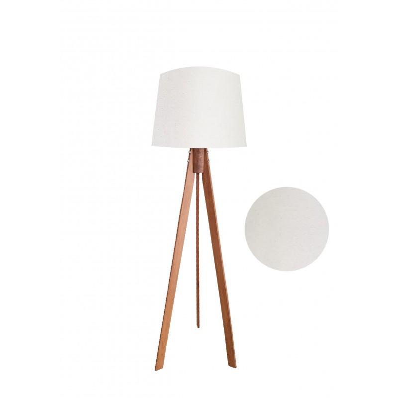 """Φωτιστικό δαπέδου """"VERDE"""" καφέ ξύλινα πόδια-μπεζ καπέλο 45x45x145εκ"""