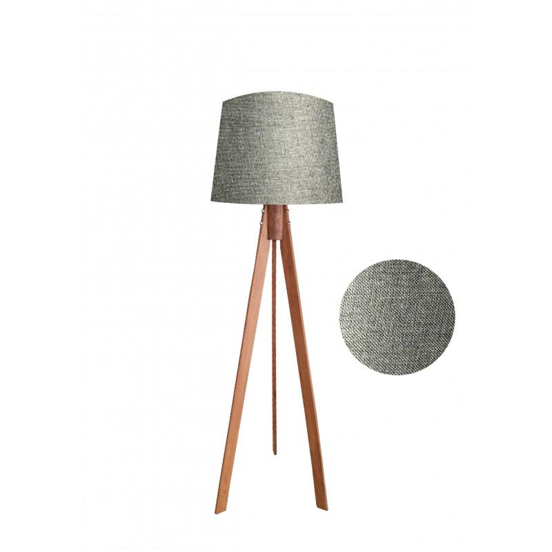 """Φωτιστικό δαπέδου """"VERDE"""" καφέ ξύλινα πόδια-γκρι καπέλο 45x45x145"""