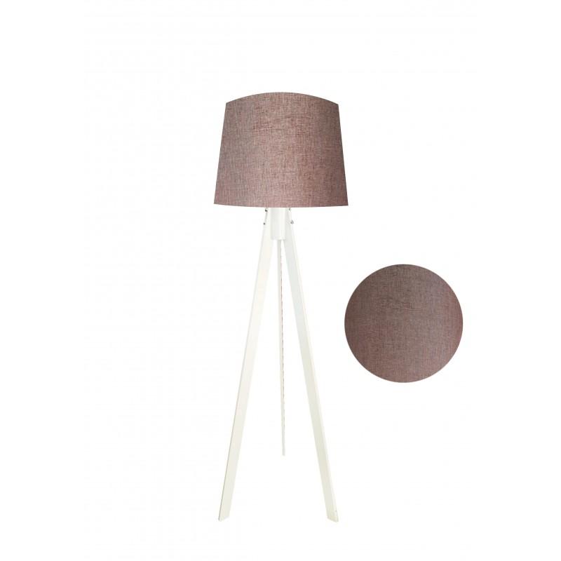 """Φωτιστικό δαπέδου """"VERDE"""" λευκό ξύλινα πόδια-καφε καπέλο 45x45x165εκ"""