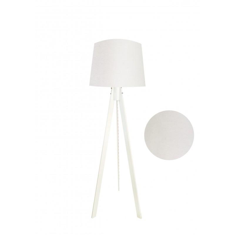 """Φωτιστικό δαπέδου """"VERDE"""" λευκά ξύλινα πόδια-μπεζ καπέλο 45x45x165εκ"""