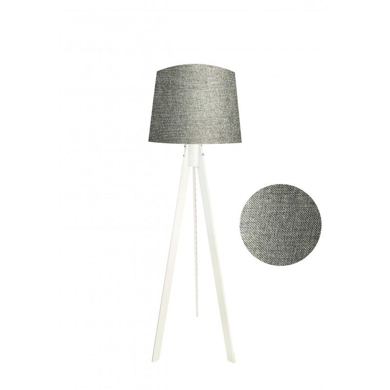"""Φωτιστικό δαπέδου """"VERDE"""" λευκό ξύλινα πόδια-γκρι καπέλο 45x45x165εκ"""
