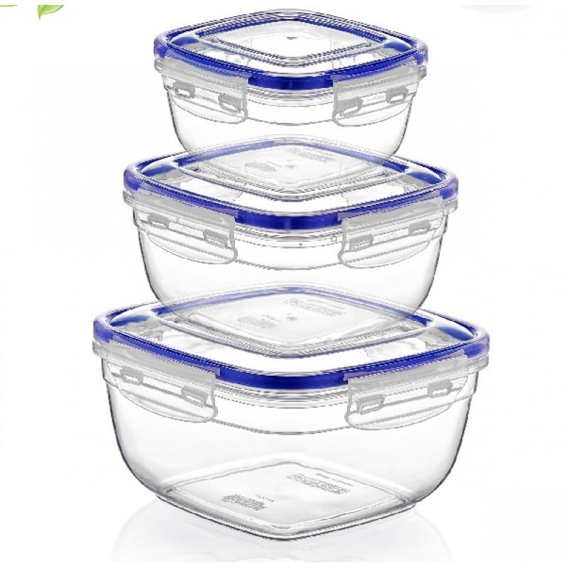 Σετ 3τμχ φαγητοδοχεία τετράγωνα βαθειά πλαστικά διάφανα 17,3x17,3x10