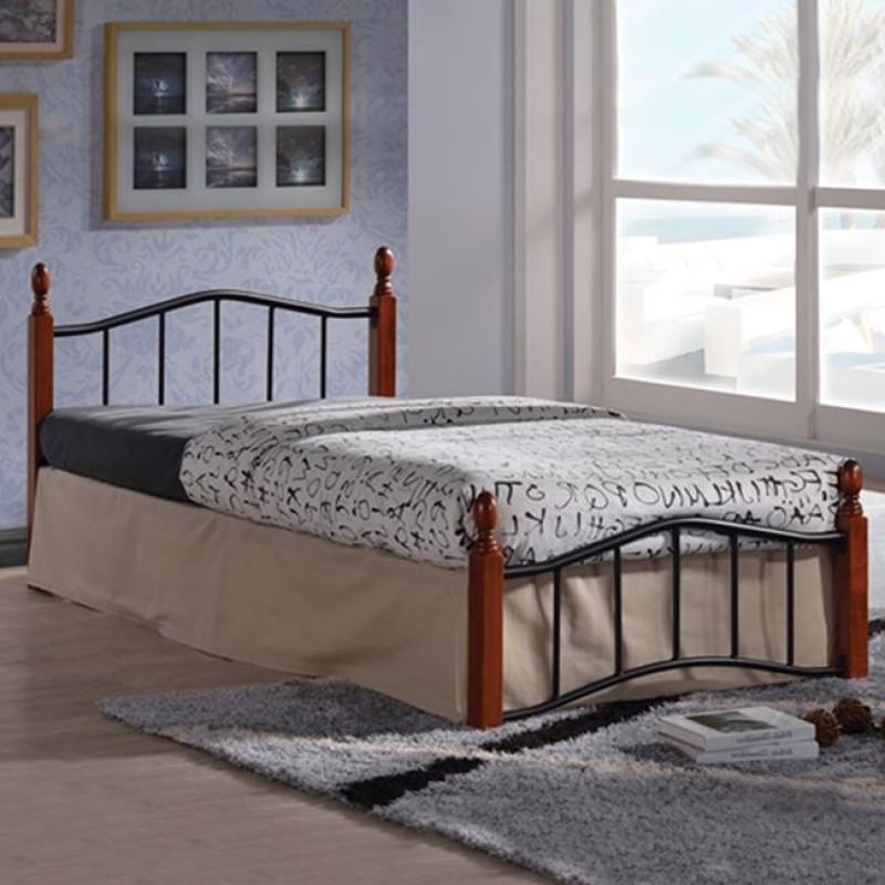 """Κρεβάτι μονό """"MELITA"""" από μέταλλο σε χρώμα μαύρο 90x190"""