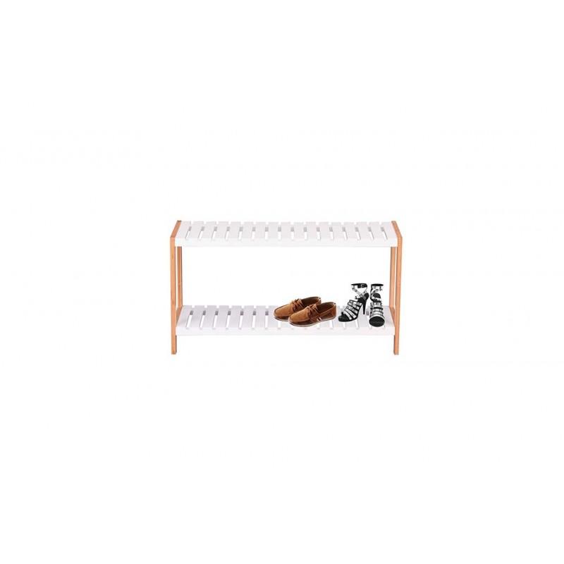 Ραφιέρα-παπουτσοθήκη με 2 ράφια σε χρώμα φυσικό/λευκό 70x26x36