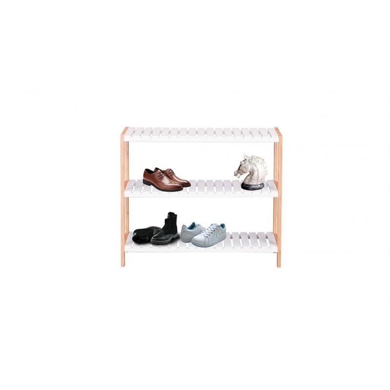 Ραφιέρα- παπουτσοθήκη με 3 ράφια σε χρώμα φυσικό/λευκό 70x26x58,5