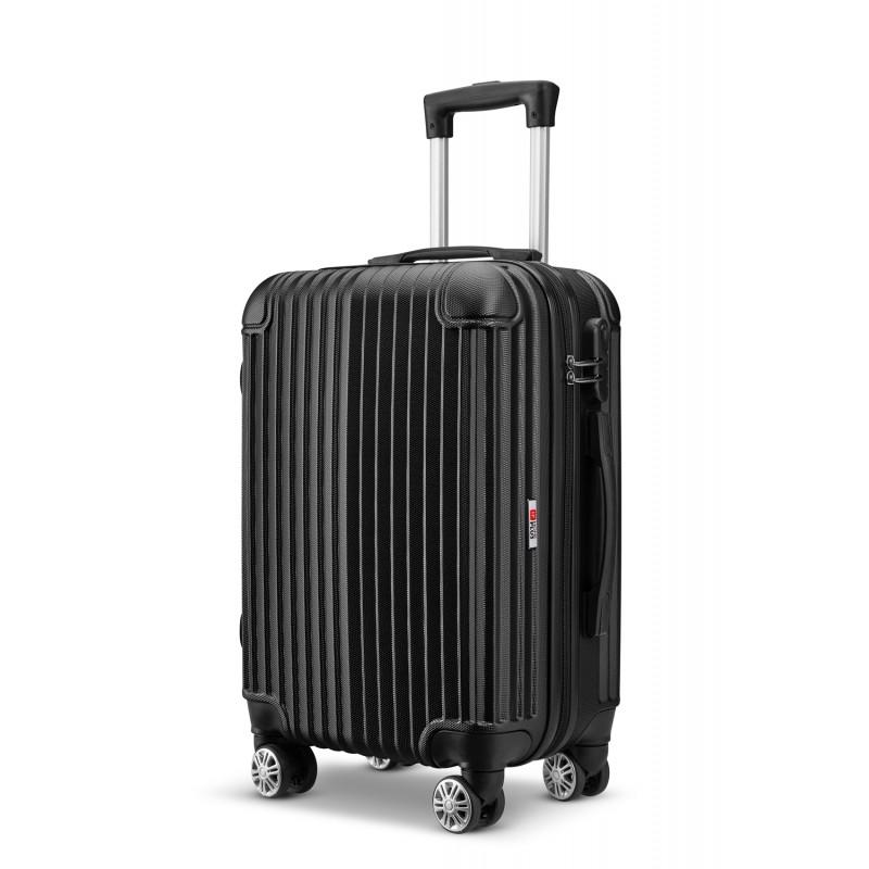 Βαλίτσα τρόλλεϋ abs με κλειδαριά ασφαλείας σε μαύρο χρώμα 51x30x20