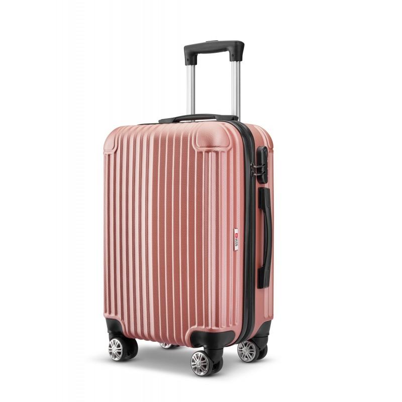 Βαλίτσα τρόλλεϋ abs με κλειδαριά ασφαλείας σε ροζ-χρυσό χρώμα 51x30x20