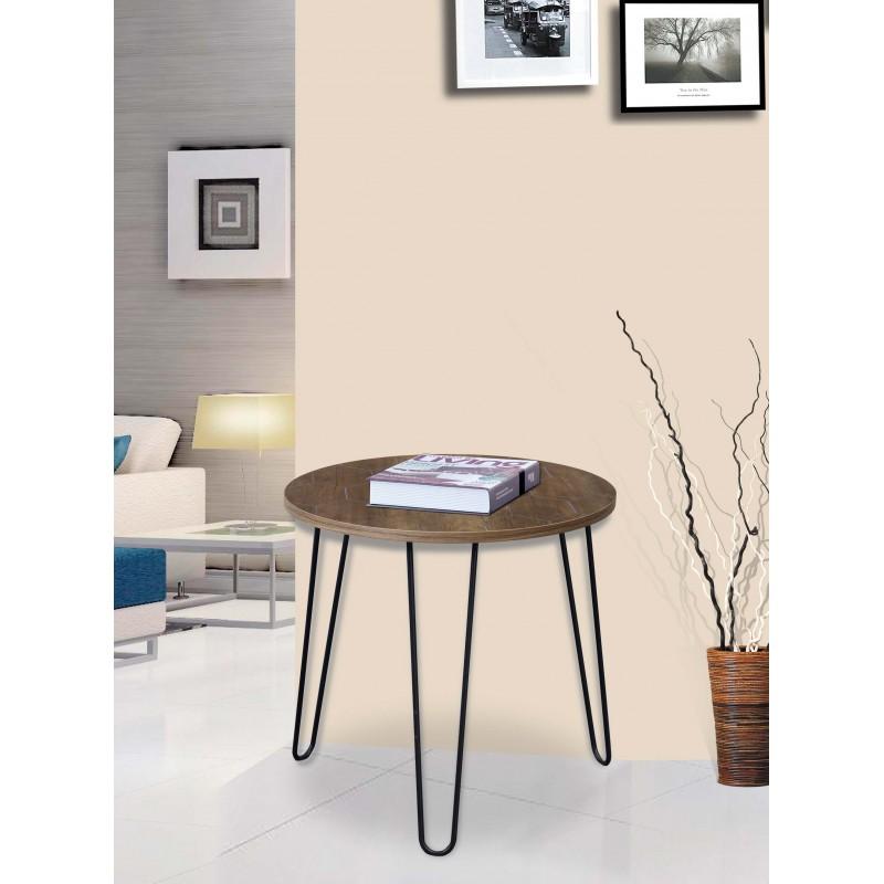 """Βοηθητικό τραπεζάκι σαλονιού """"FIDEL"""" σε χρώμα καφέ/μαύρο Φ39x47"""