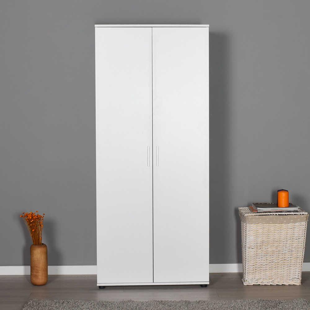 Ντουλάπα δίφυλλη σε χρώμα λευκό 80x47x187