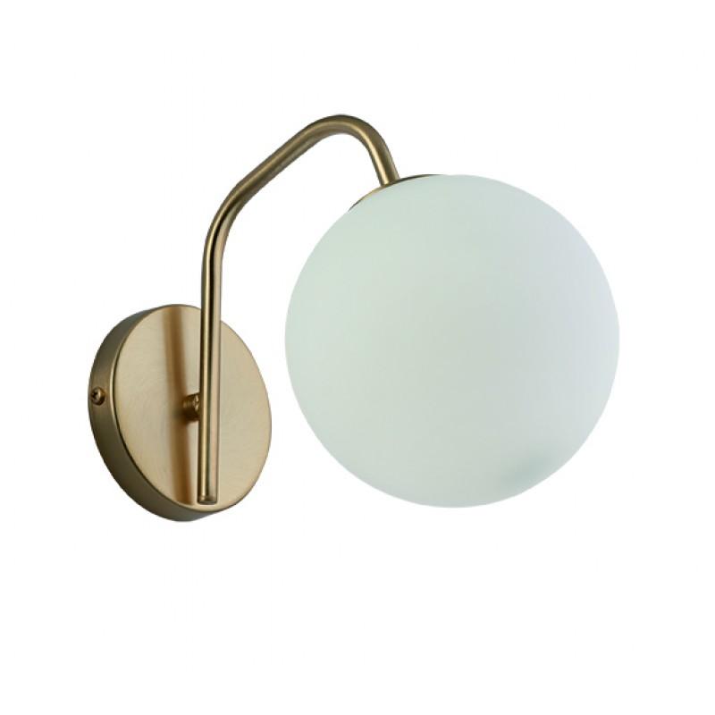 """Απλίκα """"GLOBE"""" γυάλινη οπάλ με κυρτό μπράτσο σε λευκό χρώμα 15x26x20"""