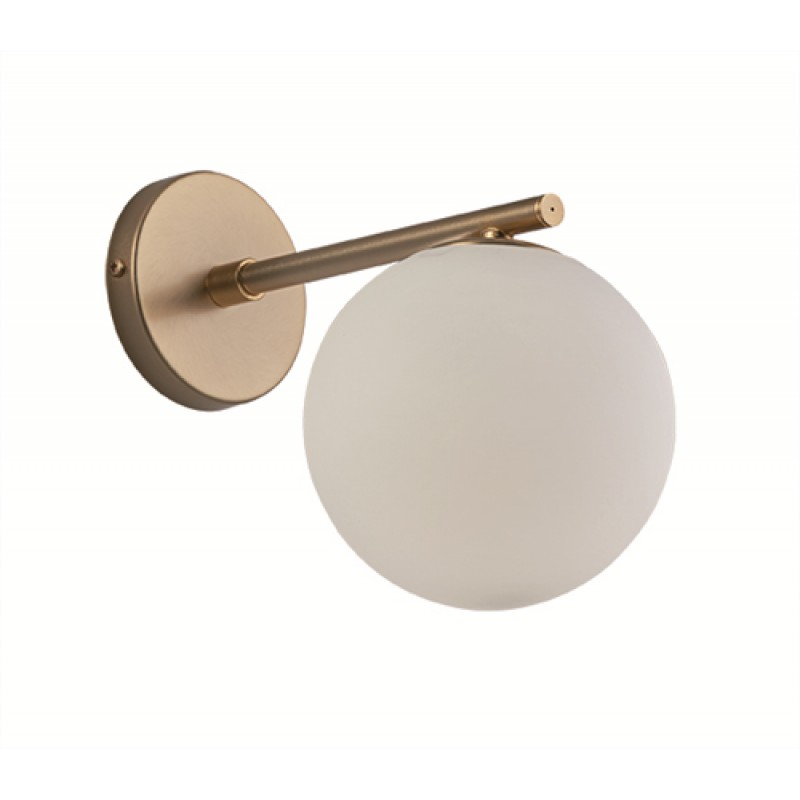 """Απλίκα """"GLOBE"""" γυάλινη οπάλ με ίσιο μπράτσο σε λευκό χρώμα 15x25x20"""