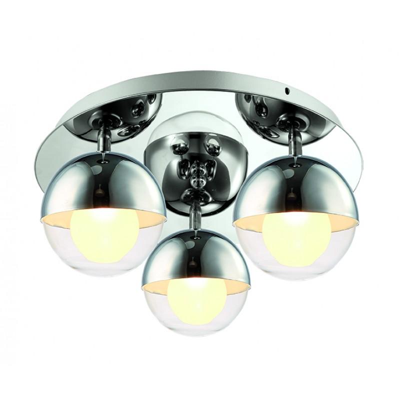 """Φωτιστικό οροφής """"COUPER"""" 3φωτο γυάλινο διαφανές 12,5x17"""