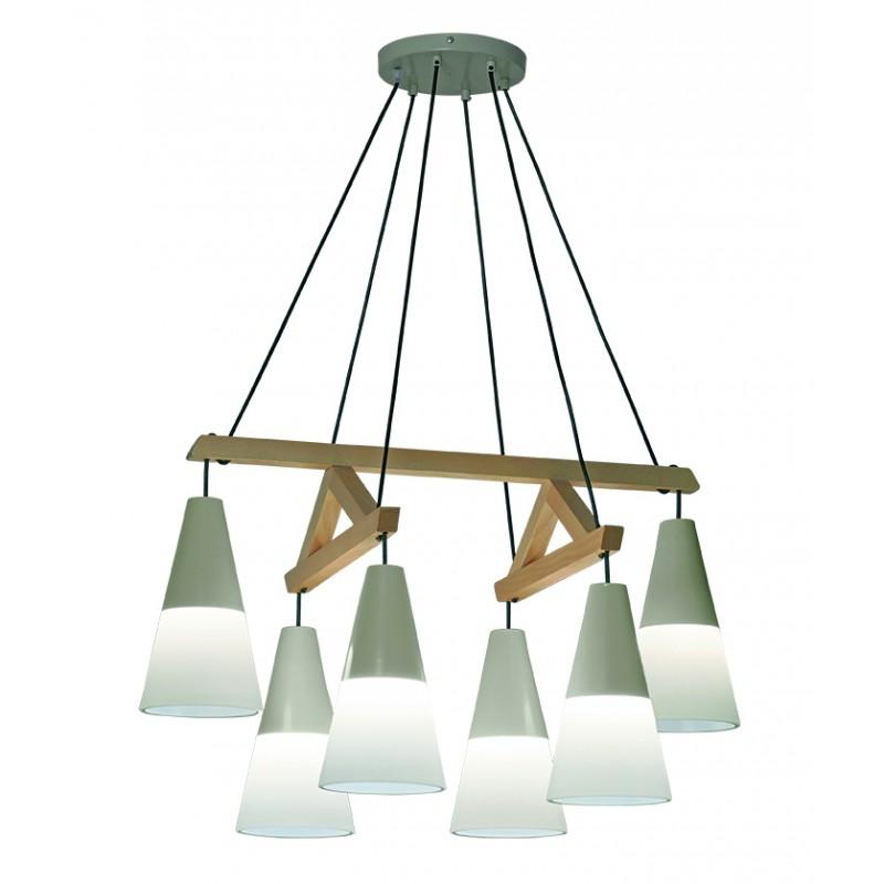 """Εξάφωτη ράγα """"LUCAS"""" ξύλινη-μεταλλική σε φυσικό χρώμα 82x53x100"""