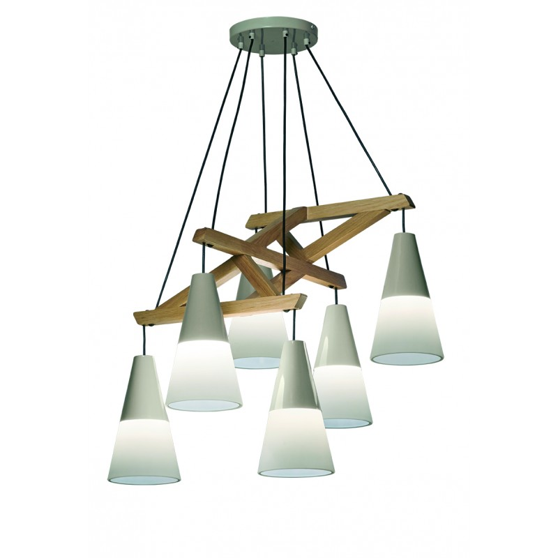 "Eξάφωτο φωτιστικό ""LUCAS"" ξύλινo-μεταλλικό σε φυσικό χρώμα 68x56x100"