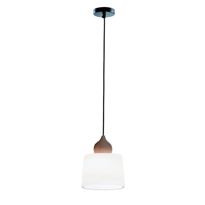 "Mονόφωτο φωτιστικό ""EDUARDO"" γυάλινο σε λευκό σατινέ χρώμα 19x100"