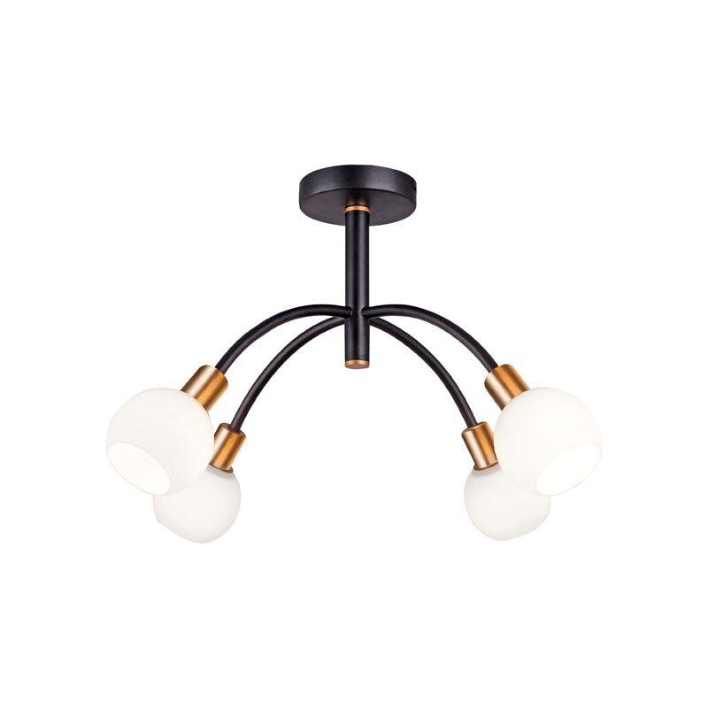 """Τετράφωτο φωτιστικό οροφής """"ELISA"""" μεταλλικό σε μαύρο χρώμα 59x37"""