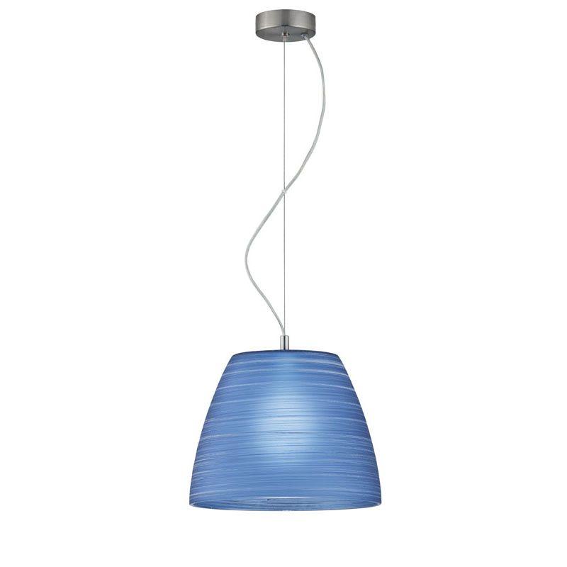 "Mονόφωτο φωτιστικό ""DORIAN"" γυάλινο σε μπλε χρώμα 31x120"
