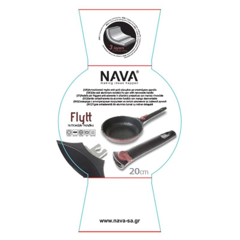 """Αντικολλητικό τηγάνι """"NAVA"""" από χυτό αλουμίνιο με αποσπώμενο χερούλι 30cm"""