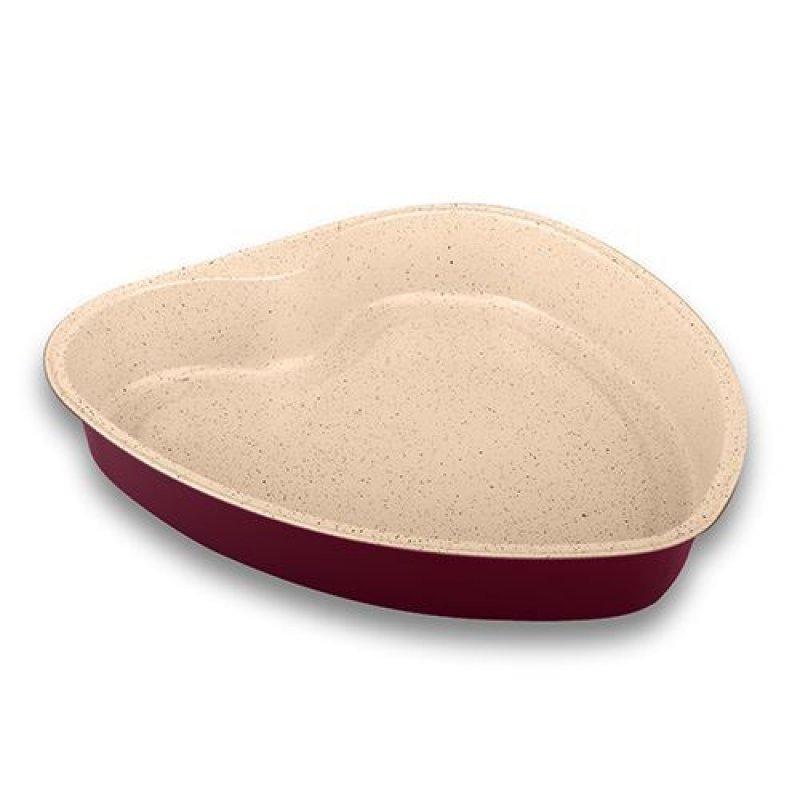 """Κεραμική αντικολλητική """"NAVA"""" ατσάλινη φόρμα για κέικ """"heart"""" 0.5mm Υ5x31.2x33cm"""