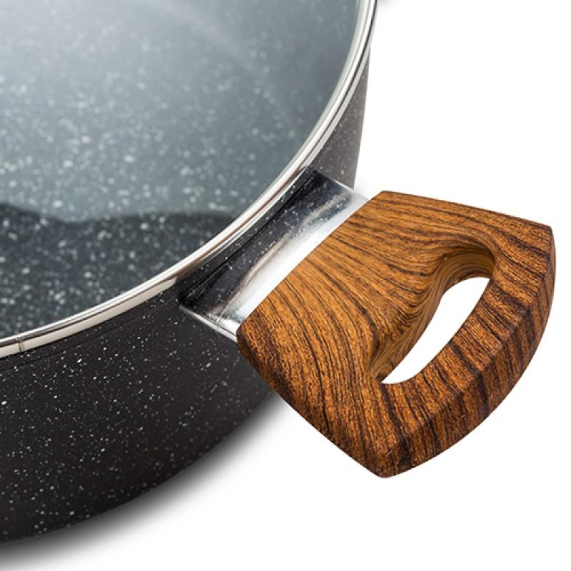 """Αντικολλητική κατσαρόλα αλουμινίου """"NAVA"""" με stone επίστρωση 20cm"""