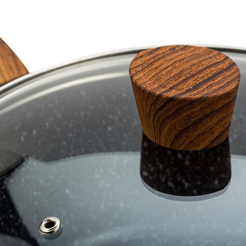 """Αντικολλητική κατσαρόλα αλουμινίου """"NAVA"""" με stone επίστρωση 24cm"""