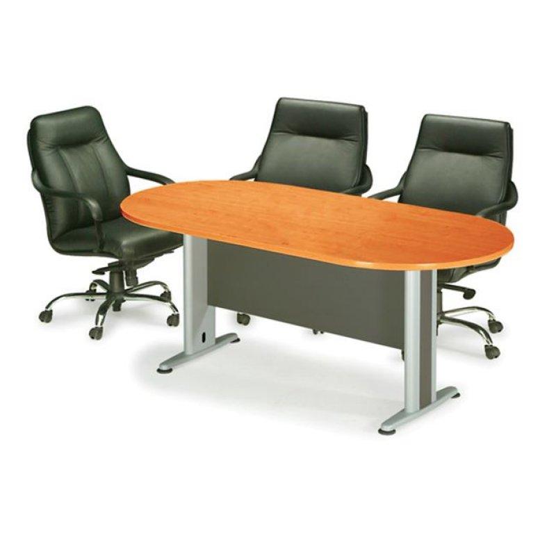 Τραπέζι συνεδρίου οβάλ σε χρώμα κερασί 180x90x75