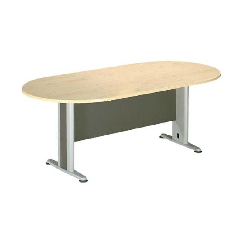 Τραπέζι συνεδρίου οβάλ σε χρώμα φυσικό/οξυά 180x90x75