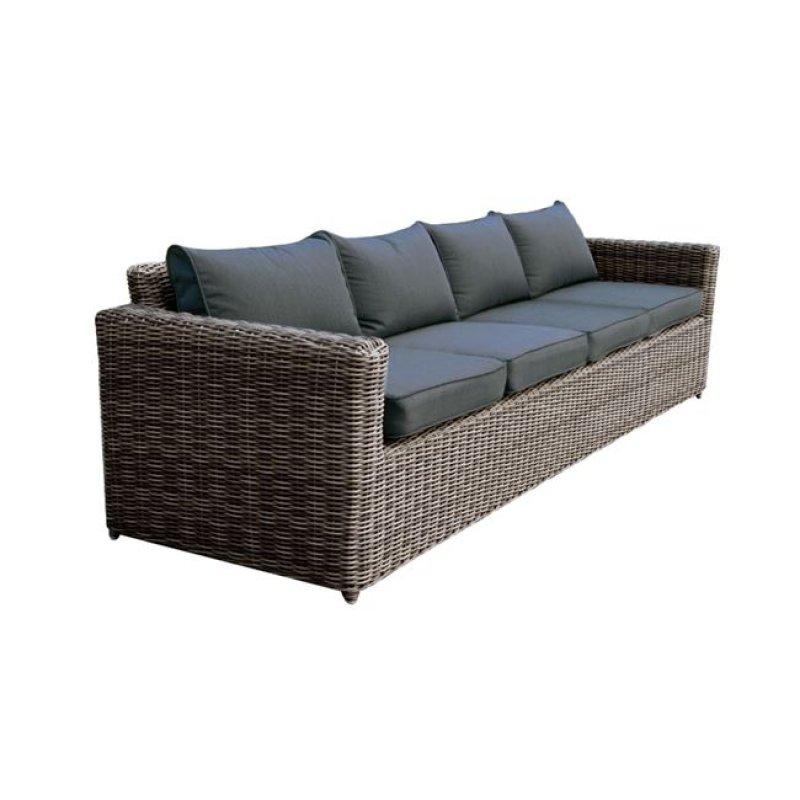 """Καναπές """"ARIZONA"""" τετραθέσιος wicker σε χρώμα γκρί-καφέ 252x77x73"""