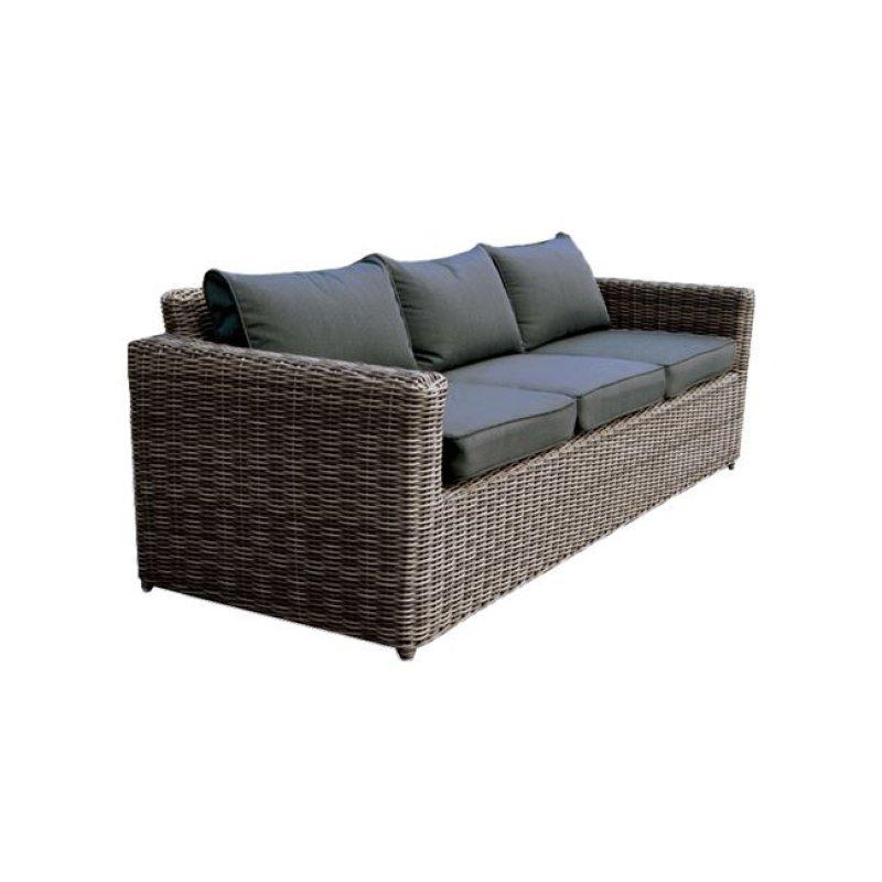 """Καναπές """"ARIZONA"""" τριθέσιος αλουμινίου με πλέξη wicker σε χρώμα καφέ 195x77x73"""