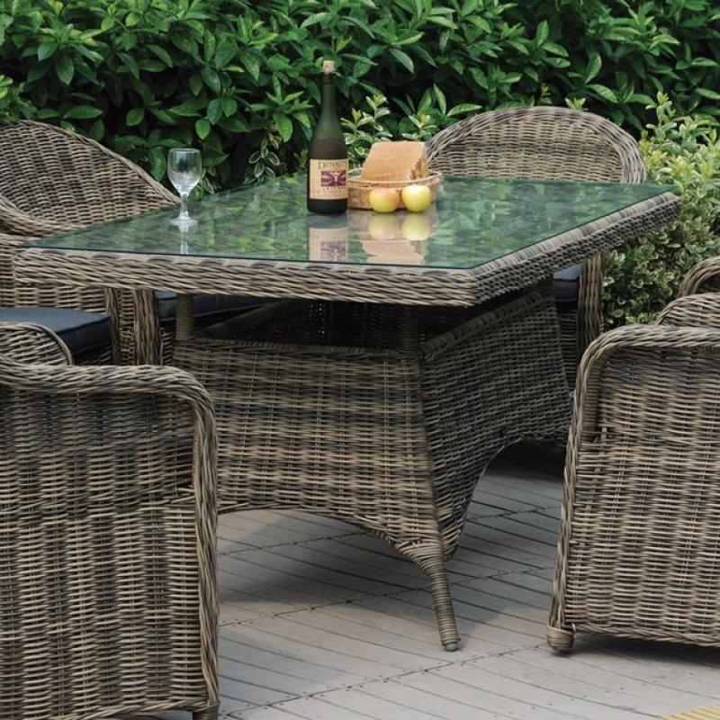 """Τραπέζι """"MONTANA"""" αλουμινίου από πλέξη wicker σε χρώμα γκρί-καφέ 160x90x75"""