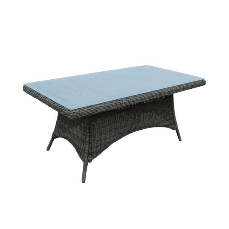 """Τραπέζι """"MONTANA"""" αλουμινίου με πλέξη wicker σε χρώμα γκρι-καφέ 180x90x75"""