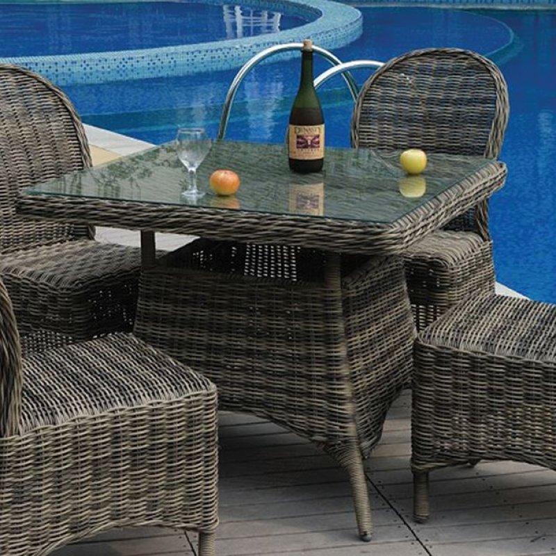 """Τραπέζι """"MONTANA"""" αλουμινίου με πλέξη  wicker σε χρώμα γκρί-καφέ 90x90x75"""