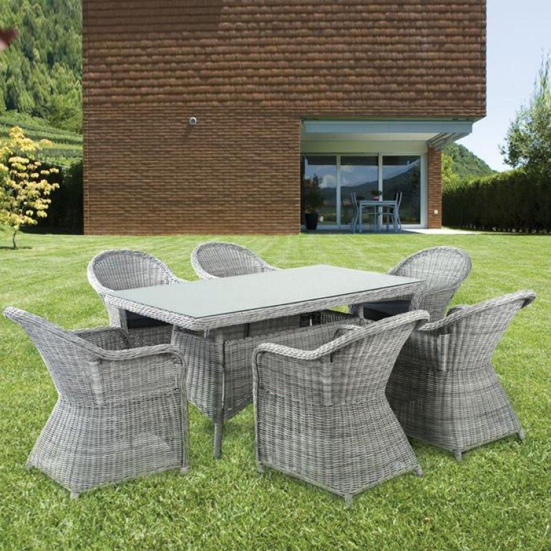 """Τραπέζι """"MONTANA"""" αλουμινίου με πλέξη wicker σε χρώμα γκρι-λευκό 160x90x75"""