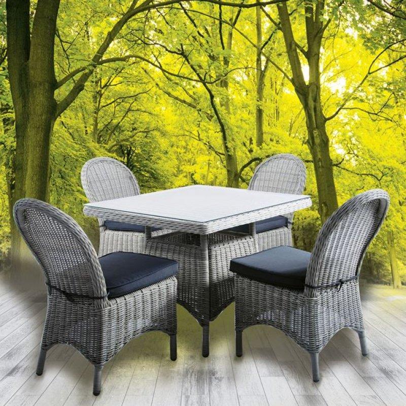 """Τραπέζι """"MONTANA"""" αλουμινίου από πλέξη wicker σε χρώμα γκρι 90x90x75"""