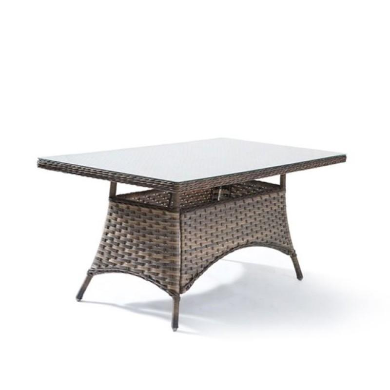 """Τραπέζι """"PALMYRA"""" αλουμινίου από πλέξη wicker σε χρώμα καφέ-γκρί 160x90x75"""