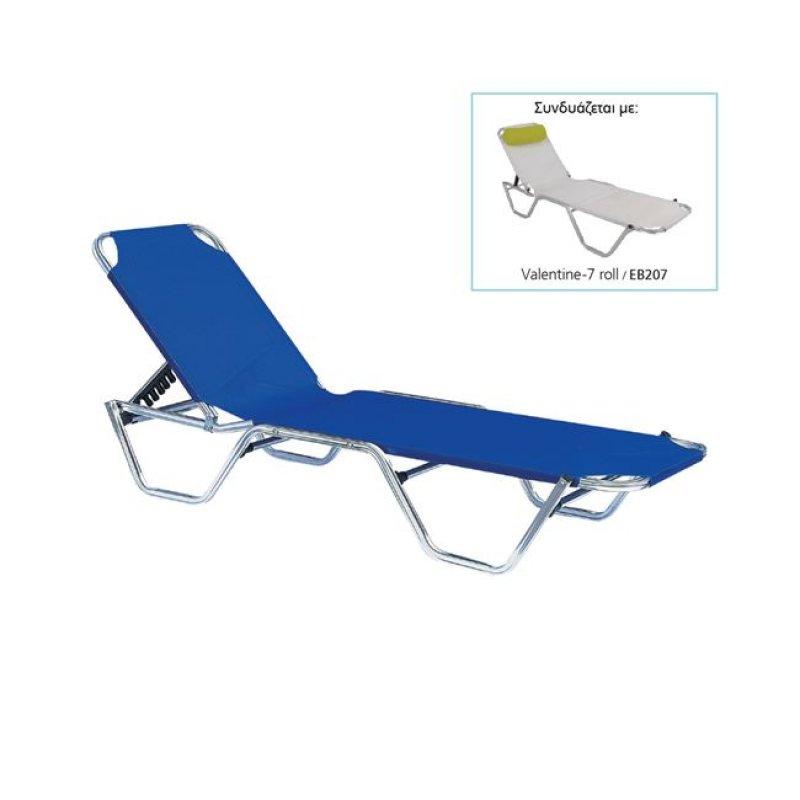 """Ξαπλώστρα """"CRETA"""" αλουμινίου-textilene σε μπλε χρώμα 60x197x30"""