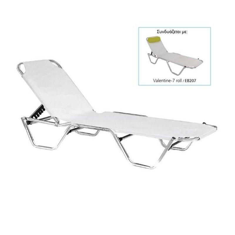 """Ξαπλώστρα """"CRETA"""" αλουμινίου-textilene σε λευκό χρώμα 60x197x30"""