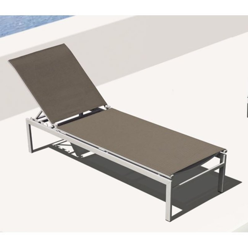 """Ξαπλώστρα """"SLING"""" μεταλλική-textilene σε λευκό-μπεζ  χρώμα 60x190x34"""